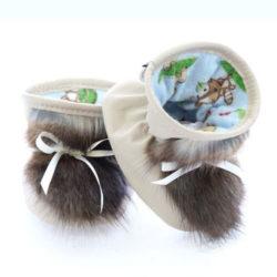 Chausson pour bébés pattes d'ours signées Grenier cuir beige