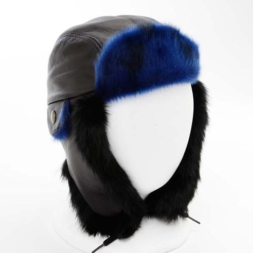 f3eb10c0408b6 Aviator Hat with Leather and Blue Sealskin for Children
