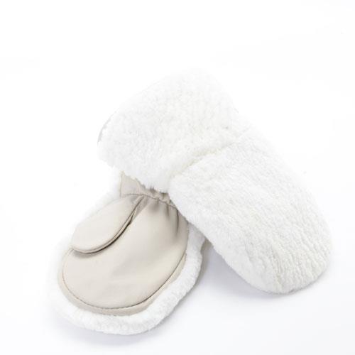 mitaines en fourrure de castor rase blanc pour enfants