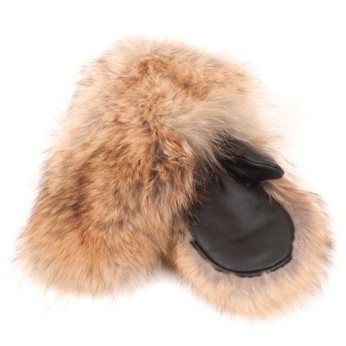 mitaines d'hiver en fourrure de coyote pour enfants