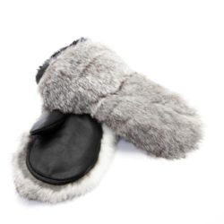 rabbit fur mitaine enfant