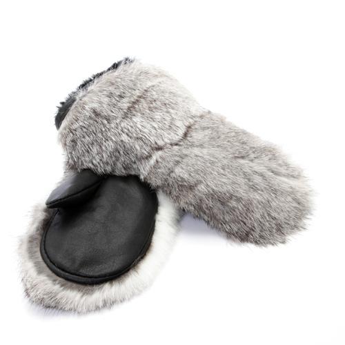 mitaines en fourrure de lapin gris pour enfants