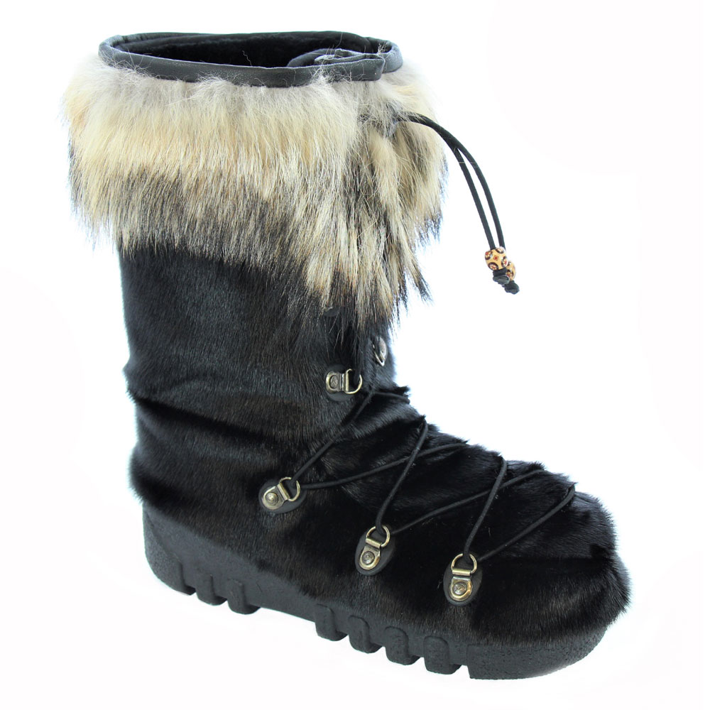 55c1be650785 Sealskin Black Winter Boots with Coyote Fur 70s Style
