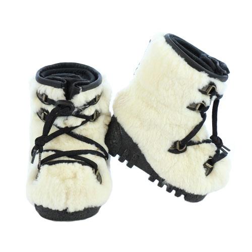 White Beaver Fur Baby Winter Boots