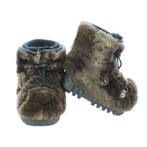 brown shaved fur babies boots