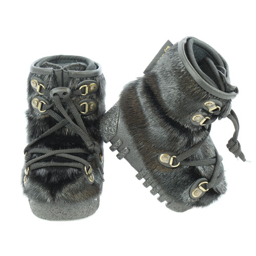 Baby Snow Boots in Black Sealskin, Made