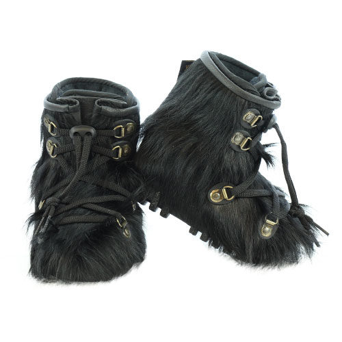Baby Booties in Black Cow Hide for