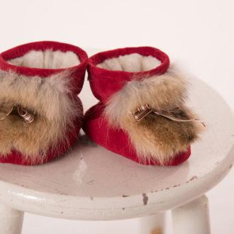 Pantoufles de bebe rouge