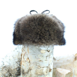 natural raccoon trapper hat with leather