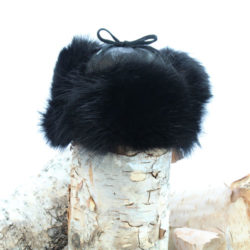 black raccoon fur trapper hat