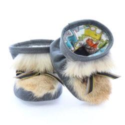 Chausson pour bébés pattes d'ours signées Grenier cuir gris aviateur