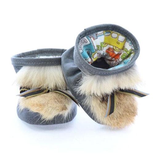 Chaussons pour bébés pattes d'ours signées Grenier cuir gris aviateur