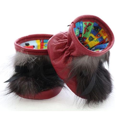 Chaussons pour bébés pattes d'ours signées Grenier cuir rouge