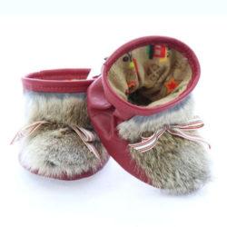 Chausson pour bébés pattes d'ours signées Grenier cuir rouge
