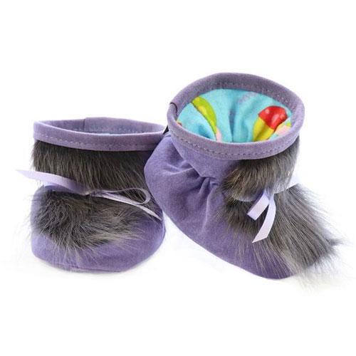 Chaussons pour bébés pattes d'ours signées Grenier suède lilas