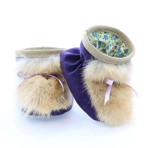Chaussons pour bébés pattes d'ours signées Grenier suède prune