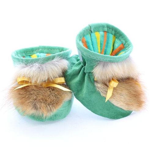 Chaussons pour bébés pattes d'ours signées Grenier suède printemps