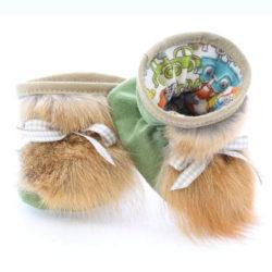 Chaussons bébé pattes d'ours signées Grenier suède sauge