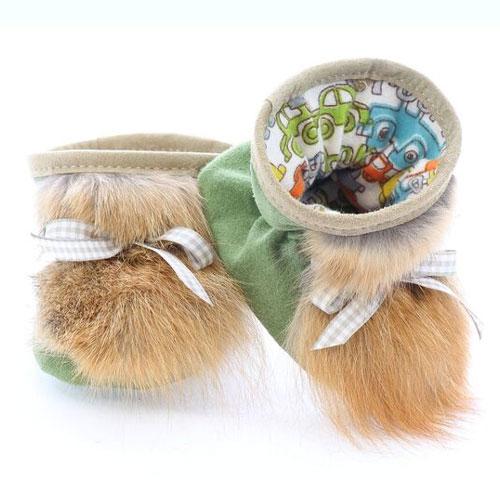 Chaussons pour bébés pattes d'ours signées Grenier suède sauge