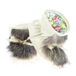 Chaussons pour bébés Pattes d'ours signées Grenier cuir beige