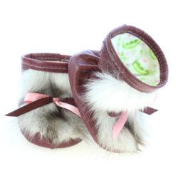Chaussons bébé - Pattes d'ours signées Grenier cuir cerise