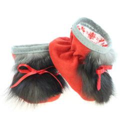 Chausson pour bébés - Pattes d'ours signées Grenier suède rouge fraise