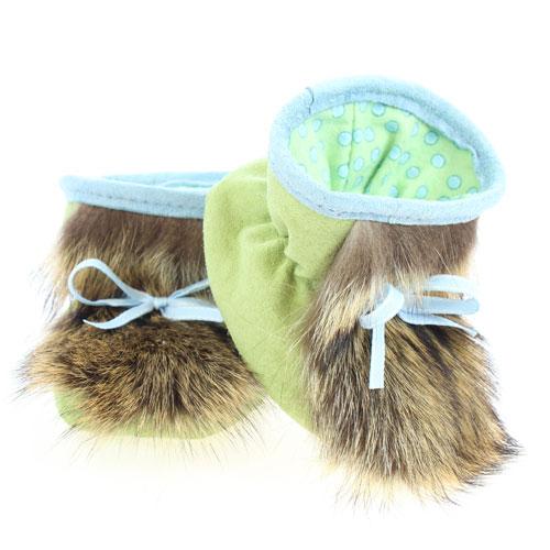 Chaussons pour bébés - Pattes d'ours signées Grenier suède vert pomme