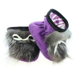 Chaussons pour bébés - Pattes d'ours signées Grenier suède violet