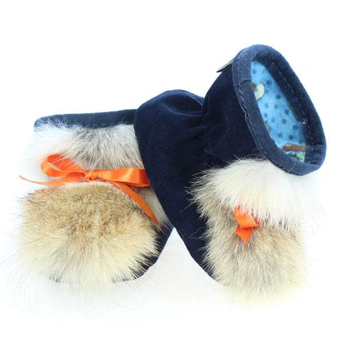 Chaussons pour bébés - Pattes d'ours signées Grenier suède marine