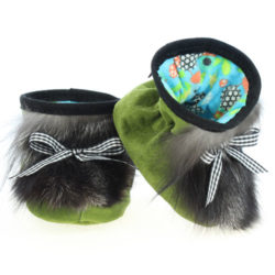 Chaussons pour bébés - Pattes d'ours signées Grenier suède couleur fougère