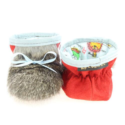 Chaussons pour bébés - Pattes d'ours signées Grenier suède rouge fraise