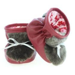 Chaussons pour bébés - Pattes d'ours signées Grenier cuir rouge