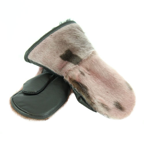 winter mittens Mitaines en loup marin rose pour enfant