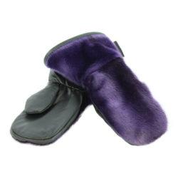 sealskin mittens Mitaines en loup marin violet pour enfant