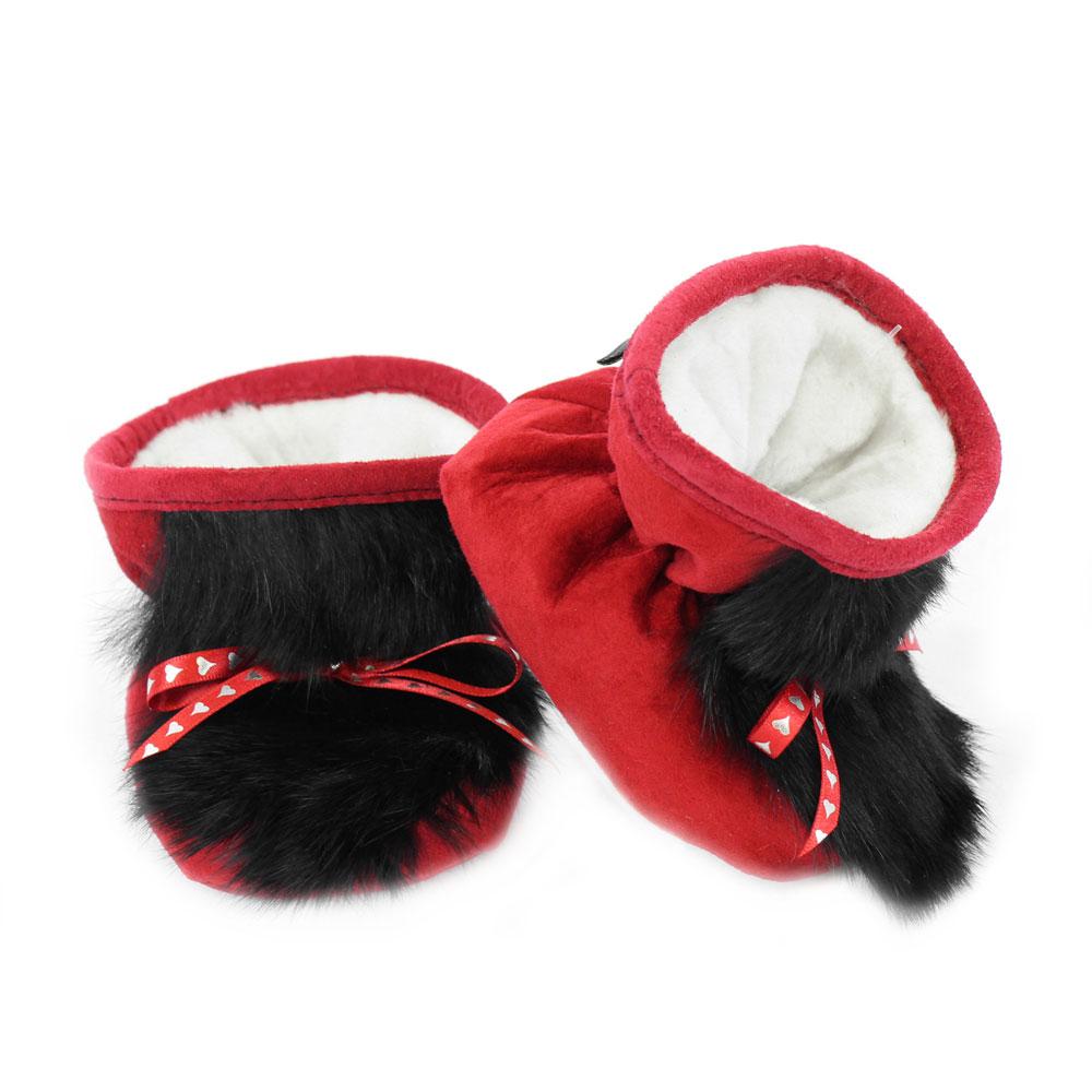 bottine-pour-bebe-suede-rouge-lapin-noir