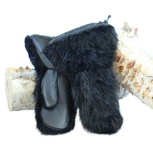 Warmest Mittens In Black Beaver Fur Snowmobile Model Fg
