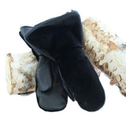 mitaine-fourrure loup marin noir duo