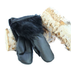 black beaver mittens leather hand snowmobile