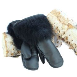 snowmobile gear black raccoon mittens leather hand