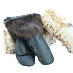 snowmobile fur mittens natural beaver leather hand