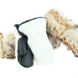 white rabbit fur mittens outdoor