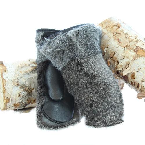 mitaine en fourrure de lapin gris