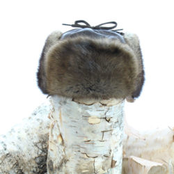 natural muskrat trapper hat