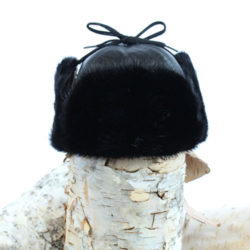 black muskrat fur hat trapper