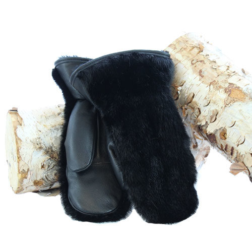 fur mittens black otter outdoor