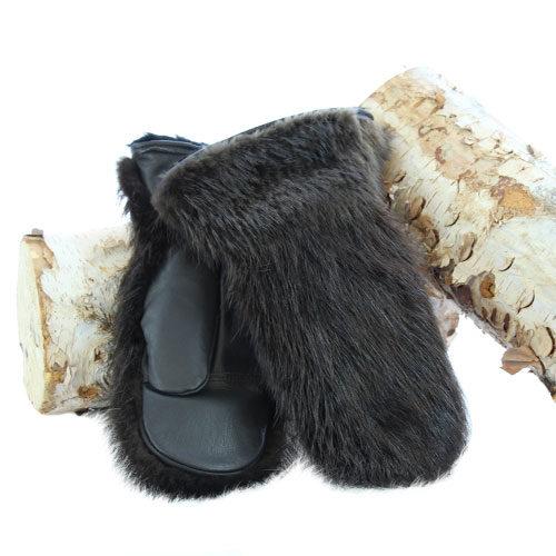 mitaines en fourrure de castor naturel