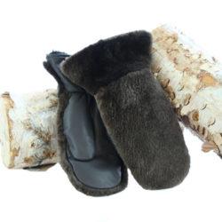 mitaine en fourrure de castor rasé