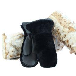 mitaines en fourrure de castor rasé noir