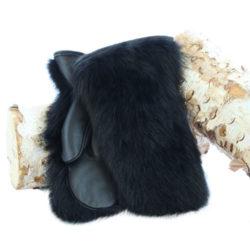 black raccoon fur mittens outdoor model
