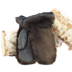 natural otter outdoor mittens